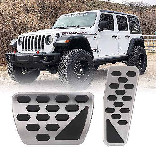 Gas Brake Pad - BORDAN Gas and Brake Pedal Cover Auto Stainless Steel Foot Pedal Pad Kit Fit for 2018-2019 Jeep Wrangler JL Models, 2 PCS