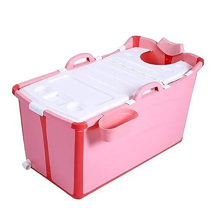 Adoudou Niños Plegables Bañera Baby Natación Portátil Baño Plástico Bañera Plegable Gran Piscina No Inflable De