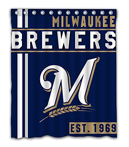 Milwaukee Baseball Team Emblem Waterproof Shower Curtain Blue Design Polyester for Bathroom Decoration 60 x 72 Inches with 12-Pack Plastic Hooks