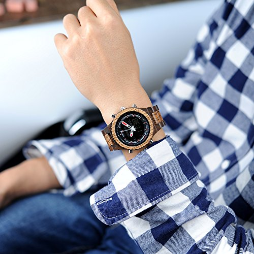 BOBO BIRD Wooden Watches Dual Display Quartz Watch for Men LED Digital Army Military Sport Wristwatch (Zebra Wood)