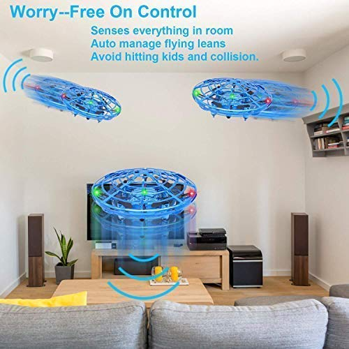 DaycMy Mini UFO Flying Ball Toys, Hand-Controlled Drone Quadcopter Flying Ball Toy Drones ,Infrared Induction Interactive Drone Indoor Flyer Toys with 360° for Kids, Teenagers Boys Girls(Blue) by DaycMy (Image #3)