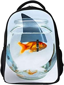 SARA NELL Kids School Bag Golden Fish with Shark'S Horn in Fish Tank Boys Girls Backpack Bookbag for Elementary Students