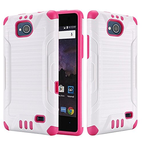 ZTE Majesty Pro LTE/Tempo Case, HRWireless Dual Layer [Shock Absorbing] Protection Hybrid Rubberized Hard PC/Silicone Case Cover for ZTE Majesty Pro LTE Z799VL/Tempo, White/Hot Pink