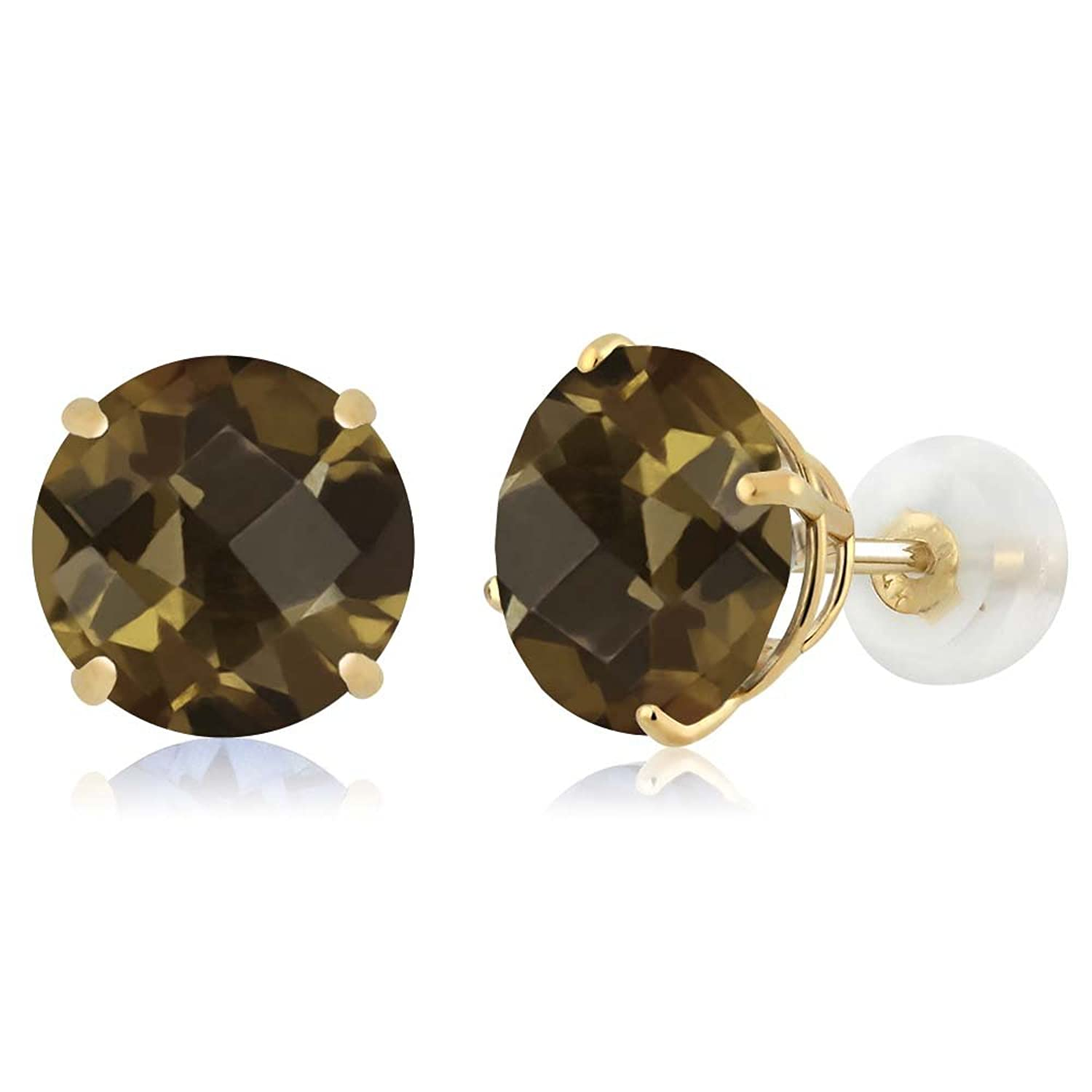 3.60 Ct Round Checkerboard Brown Smoky Quartz 14K Yellow Gold Earrings