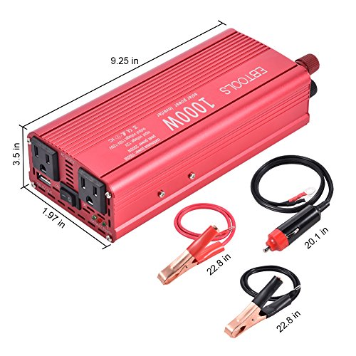 EBTOOLS Car Power Inverter, 1000W/2000W Inverter 12V DC to 110V AC Car Converter with 2 AC Outlets and 2.1A USB port for Laptop, Smartphone, Household Appliances in case Emergency, Storm and Outage by EBTOOLS (Image #7)