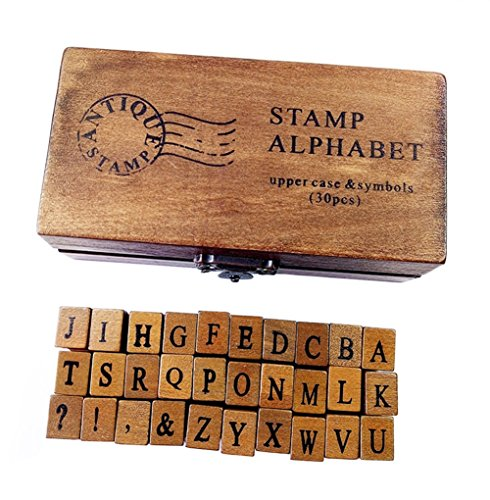 (LAAT Creative Wooden English Alphabet Letter Stamps Stamper Capital Lower Case Boxes for Kids-30PCS)