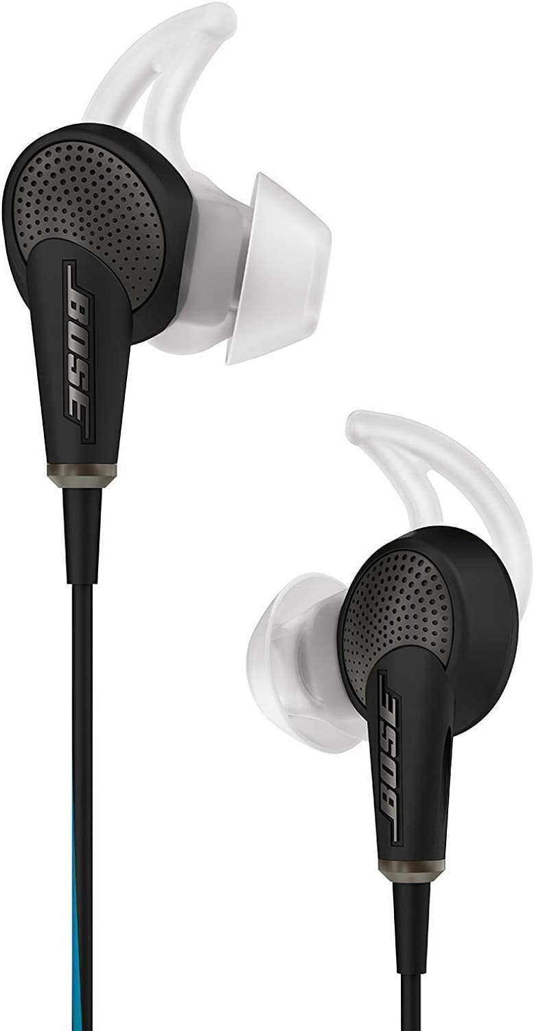 black Bose noise-cancelling earbuds on a white background
