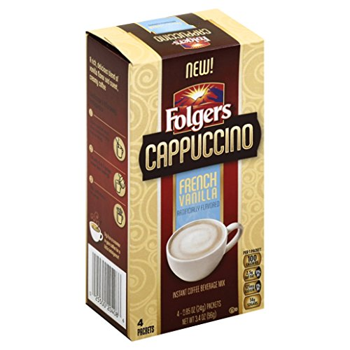 Folgers Cappuccino Single Serve Mix Packets, French Vanilla, 32 Count