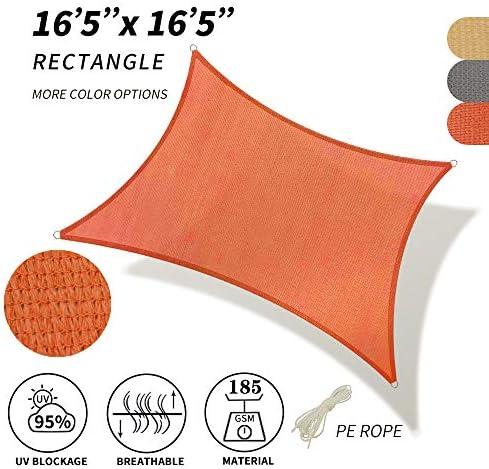 SHADE SPRING Rectangle Terra Sun Shade Sail 16 5 x 16 5 UV Block Canopy 185GSM Awning for Patio Garden Yard