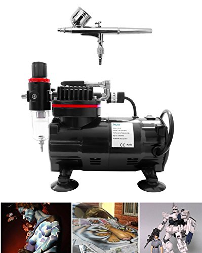 Forged Single Piston - 1/5 HP Airbrush air Compressor high Performance with Water Trap Filter, 6ft air Hose, 2 Dual-Brush Holder for Hobby Paint,Cakes,Tatoo,Iwata (0003)