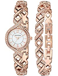 Women's 75/5412WTRGST Swarovski Crystal Accented Rose Gold-Tone Watch and Bracelet Set