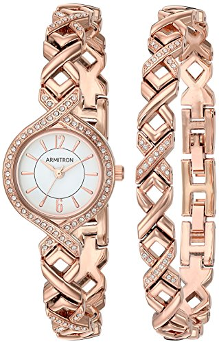 Armitron-Womens-755412WTRGST-Swarovski-Crystal-Accented-Rose-Gold-Tone-Watch-and-Bracelet-Set