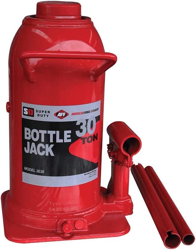 3630 High-Grade Steel Construction Forged and Welded Base AFF Super Duty 30 Ton Hydraulic Bottle Jack Manual Welded Cylinder