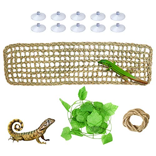 suruikei Bearded Dragon Hammock with Suction Cups, Reptile Lizard Lounger Hammock Natural Seagrass Fibers Small Animals Hammock Sleep Bed for Reptiles Chameleon, Lizards, Gecko, Snakes (Set 1)