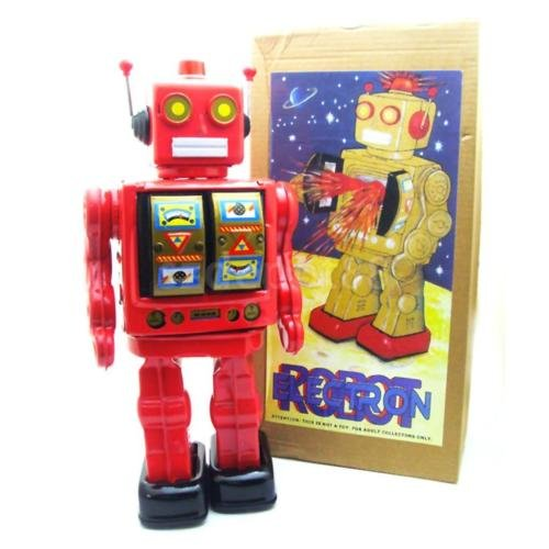 FidgetKute CLASSIC BATTERY POWERED RETRO TIN TOY ROBOT SPACEMAN WALKS & LIGHTS UP (Spaceman Tin Robot)