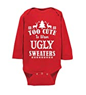 Esti's Baby Couture Cute To Wear Ugly Sweaters | Funny Baby Christmas Onesie | Holiday Bodysuit