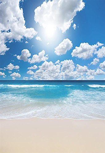 3x5FT Laeacco Vinyl Thin Photography Backgrounds Scenic Theme Backdorp Blue Sky White Clouds Ocean Sand Beach Scene Photo Backdrop Seaside Beach Scenery Scene 1(w)x1.5(h)m Studio Props