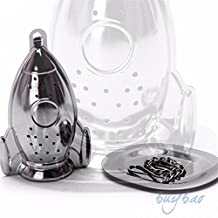 ORYOUGO Hanging Tea Leaf Diffuser Infuser Stainless Steel Strainer Herbal Spice Filter With Drip Tray(Rocket Shape)