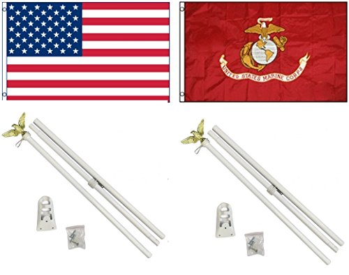 3'x5' US AMERICAN and USMC MARINES Polyester FlagS and TWO 6' POLE KITS