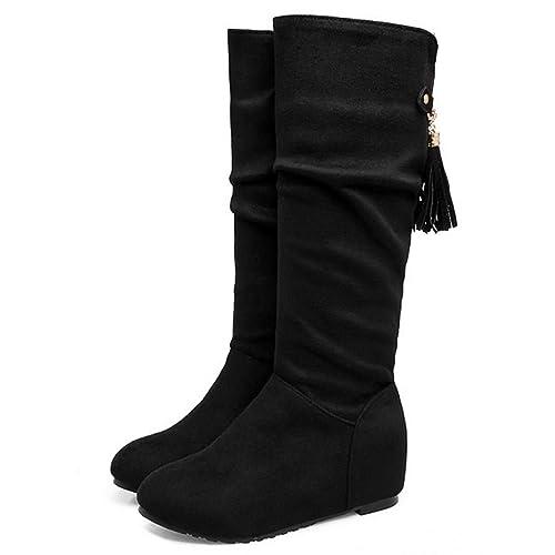 RAZAMAZA Damen Mid Calf Slouched High Heel Stiefel (34 EU, White)