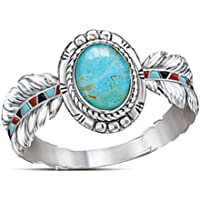BNisBM Rings, Womens Vintage Boho Turquoise Feather Ring Gift Cocktail Party Rings Wedding Jewelry (10,Silver)