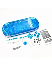 New Replacement Sony PSP 3000 Console Full Housing Shell Cover with Button Set -Clear Blue.