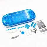 NEW Replacement Sony PSP 3000 Conssole Full Housing Shell Cover With Button Set -Clear Blue.