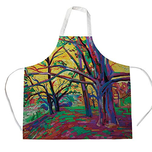 Squad Fabric Mod (Cotton Linen Apron,Two Side Pocket,Country Decor,Mod Funk Art Style Painting of a Colorful Forest in The Spring Time Nature Earth Boho,Multi,for Cooking Baking Gardening)