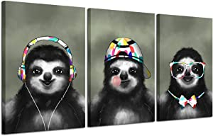 Kreative Arts Canvas Wall Art Prints Lazy Cute Sloth Love Animal Photo Paintings Contemporary Decorative Giclee Artwork Wall Decor Wood Frame Ready to Hang for Nursery Kids Baby Room Decorations Gift