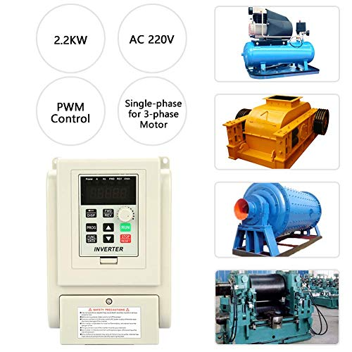 VFD 220v 2.2kw,VFD Inverter Single to 3 Phase,AC 220V Single-phase Variable Frequency Drive VFD Speed Controller for 3-phase 2.2kW AC Motor ()