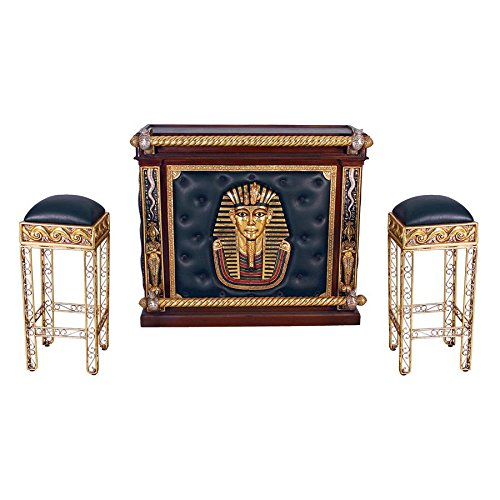 Design Toscano The Altar of Tenenit Egyptian Bar with Two Barstools