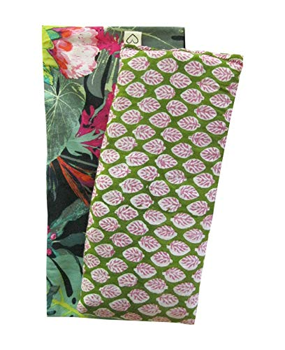 Spa Gift Set - Scented Eye Pillow & Cover - Lavender Flax - Washable Cotton Cover - Soothing Relaxing - leaf paisley green palm black pink tropical