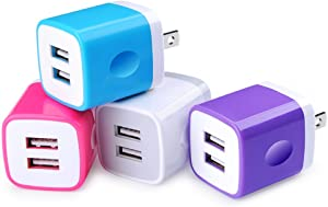 USB Wall Charger, USB Cubes, Sicodo 4-Pack Universal Travel 2.1A Dual Port Plug Charging Block Compatible with iPhone 11/XS/8/7 Plus/6 Plus,Tablet, Samsung Galaxy S8 Plus,S7 S6 Edge,HTC,LG,Sony,Nokia