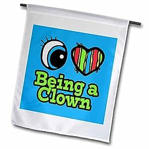 "3dRose fl_105755_1"" Bright Eye Heart I Love Being A Clown Garden Flag, 12 x 18"