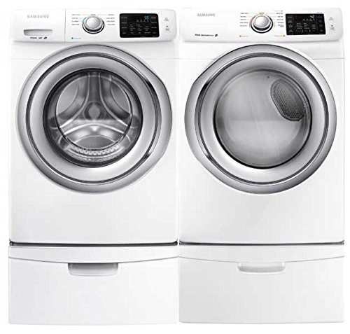 Samsung- High-Efficiency Front-Loading Laundry Featuring 4.2 CF Washer with Steam and Matching ELECTRIC 7.4 CF Dryer with Steam *Plus* Matching Storage Pedestals(WF42H5200AW+DV42H5200EW+WE357AW X 2) (Stacked Washer Front Dryer Load)