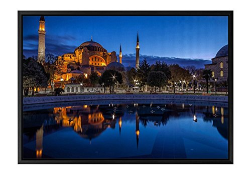 Ahmed Sultan Mosque (Blue Night Sultan Ahmed Mosque Istanbul Black Wooden Frame Art Print Canvas Poster, Home Wall Decor(14x20x1.4 inch))