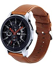 Galaxy Watch 46mm Bands, Gear S3 Bands, KADES 22mm Universal Leather Replacement Strap with Quick Release Pin Compatible for TicWatch Pro/Amazfit Stratos Smart Watch, Small, Brown
