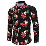NUWFOR Men Casual Snowflakes Santa Candy Printed Christmas Shirt Top Blouse(Black,US:M Chest35.3)