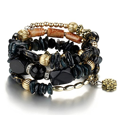 Multilayer Bohemian Beaded Bracelet Crystal Pendant Charm Stretch Beach Bangle Bracelet Set Jewelry