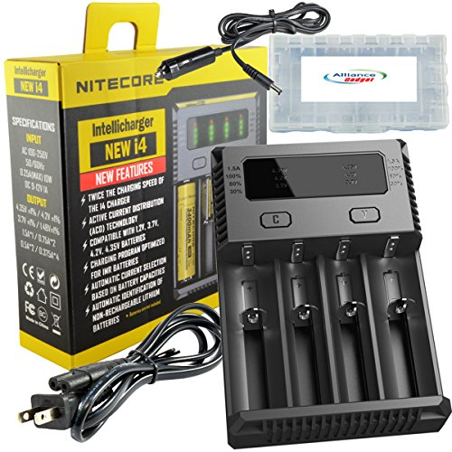 Nitecore i4 v2014 new 2016 version intellicharger universal smart battery charger for i-ion / imr / ni-mH/ ni-cd w/ car adapter bundle with alliance gadget battery case (New Charger Battery Universal)
