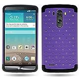 CoverON® for LG G3 Diamond Rhinestone Bling [Aurora Series] Heavy Duty Hard Hybrid Tough Phone Cover Case - (Purple / Black)