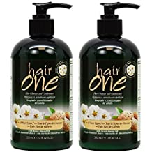"Hair One Hair Cleanser and Conditioner for All Hair Types with Sweet Almond Oil 355ml / 12oz ""Pack of 2"""