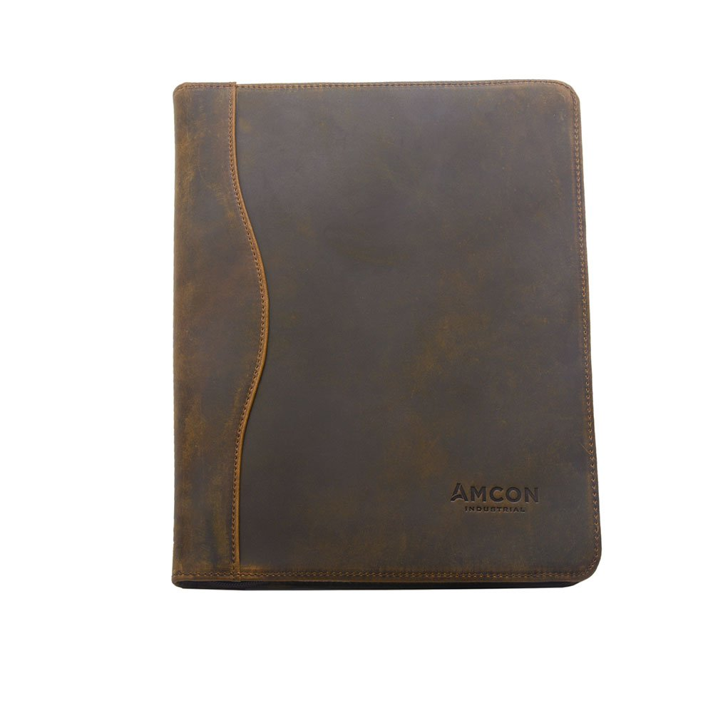 iCarryAlls Vintage Crazy Horse Leather Padfolio, Fits Letter-Size / A4 Notepad and Documents,Tan