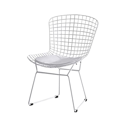 ZHIRONG Nordic Black Iron Art Comfortable Armchair Breakfast Chair Grid  Hollowed Out Metal Chair Nail