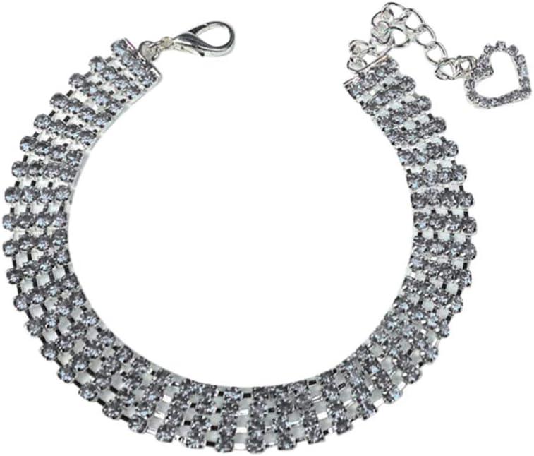 Balacoo Collar de Cristal para Perros con Encanto de Corazón Collar de Perlas para Mascotas Collar de Diamantes de Imitación Collar Foto Prop Joyería para Cachorro Perro Gato