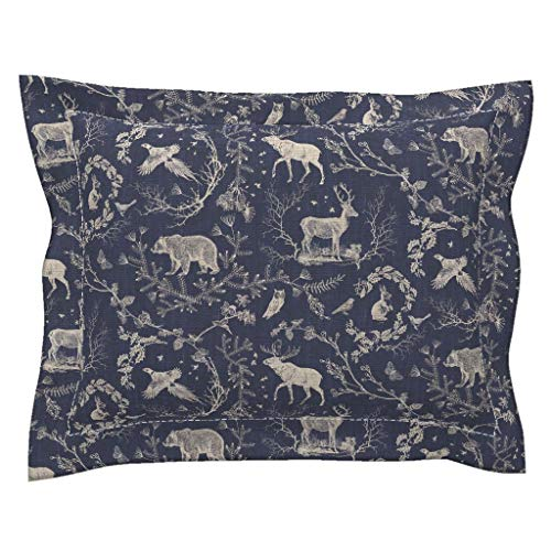 Toile Flanged Pillow Sham Deer Stag Rabbit Owl Toile Christmas Navy Moose Night Time Midnight Blue Log Cabin Nature by Nouveau Bohemian 100% Cotton Sateen