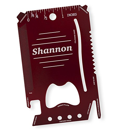 (Dimension 9 Shannon - Laser Engraved, Anodized Metal Personalized Wallet Tool )