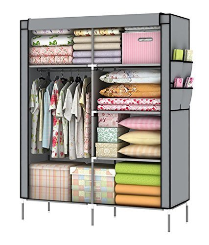 YOUUD Portable Closet Wardrobe Organizer Collection Multilayer Shelves Clothes Storage Organizer Wardrobe Gray