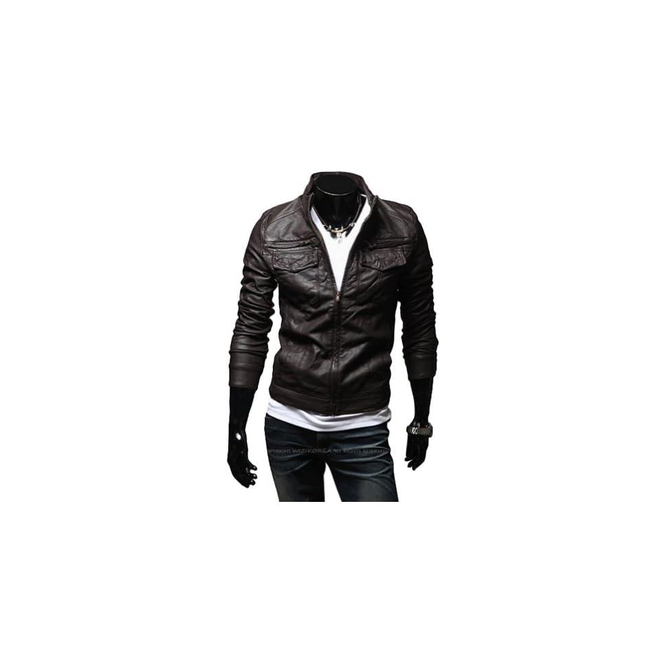 Zicac Mens Fashion Transverse Slim Leather Coats Autumn Winter Suit Jacket (Asia(M) US2, Coffee)