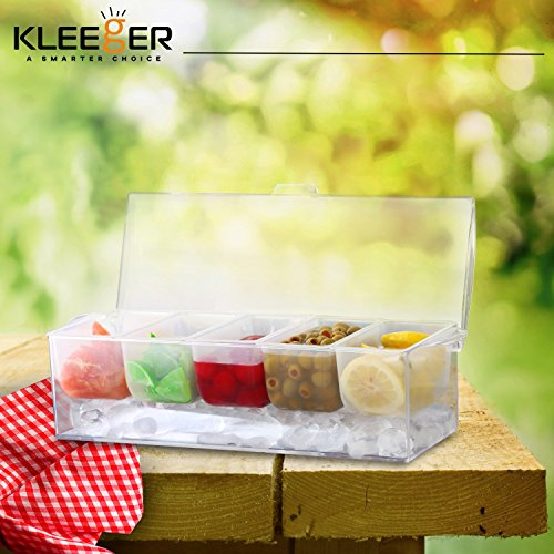 Kleeger Chilled Condiment Server With Lid: 5 Removable Compartments, Bottom Fills With Ice by KLEEGER (Image #7)